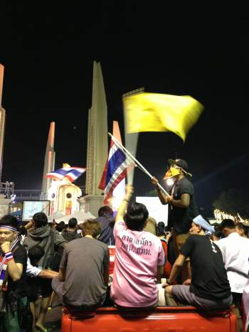 Anti-government protesters gather at Bangkok's democracy monument in December 2013