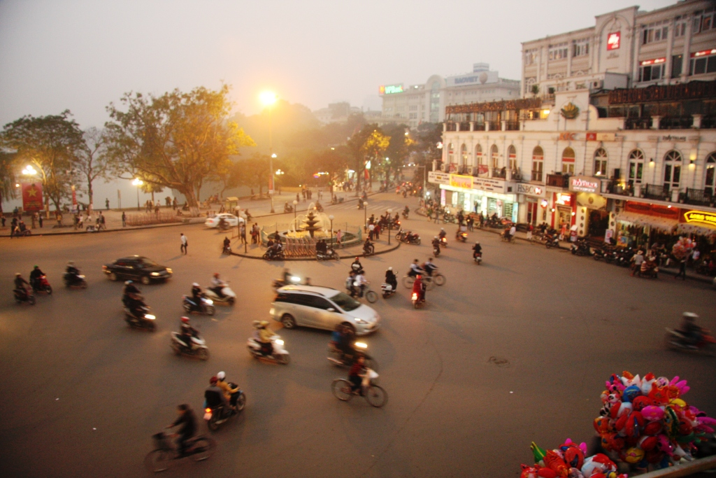 A busy intersection in downtown Hanoi.