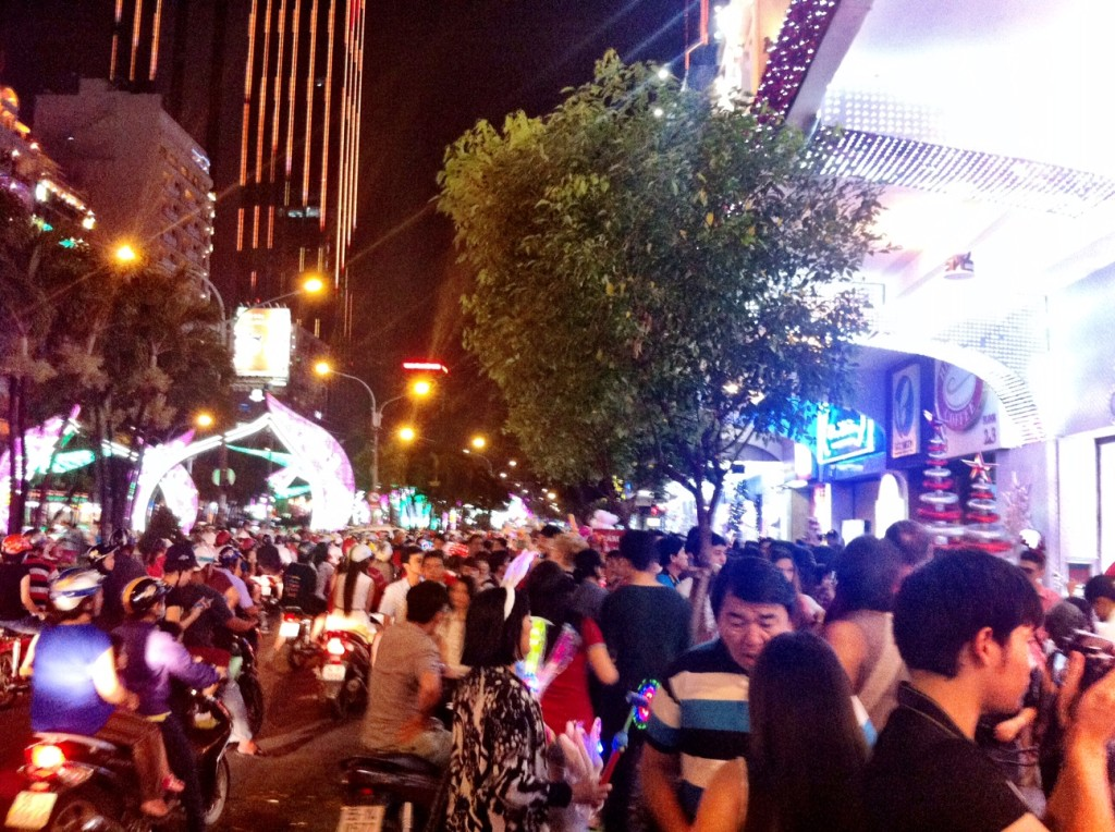 A typical night in downtown Ho Chi Minh City: urban consumption is on the rise