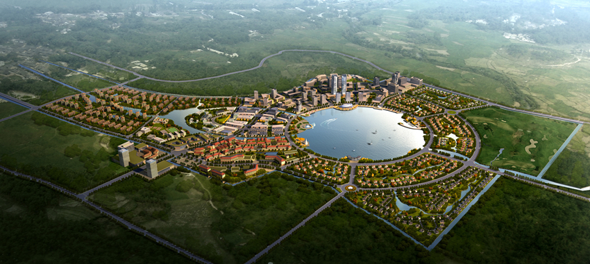 Mock-up of the That Luang Marsh SEZ in Vientiane.