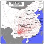 Domestic routes from Kunming [click map to enlarge]
