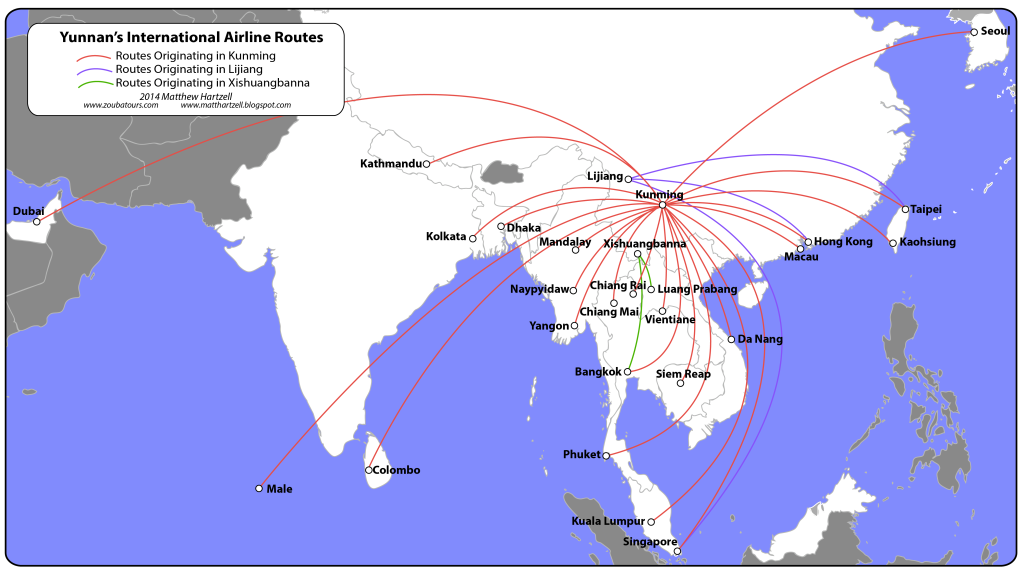 Kunming's international flight paths [click to enlarge]