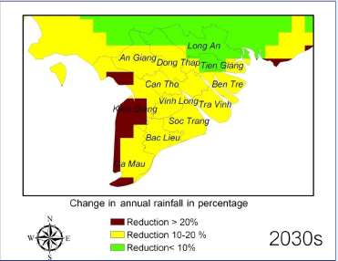 Predicted change in precipitation for 2030's when compared with data from 1980's.