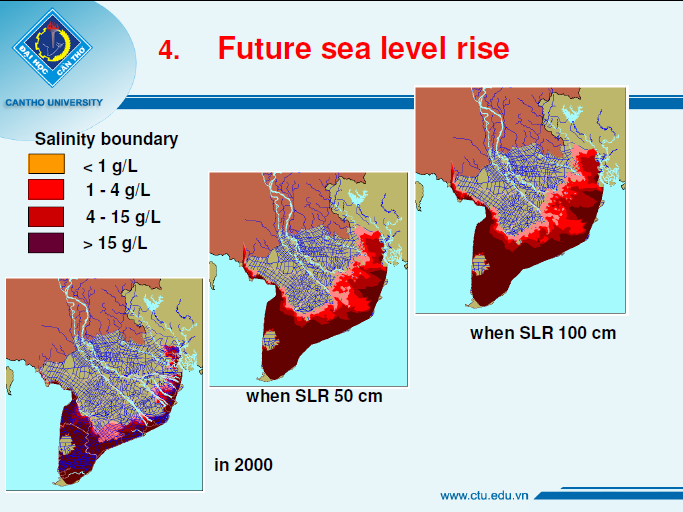With increased sea levels rise (SLR), saltwater makes deeper incursions into the Delta, leading to overall higher salinity levels (measured in grams/liter).