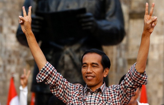 "ndonesian presidential candidate Joko ""Jokowi"" Widodo gesturing during a rally in Proklamasi Monument Park in Jakarta.  Image: Reuters"