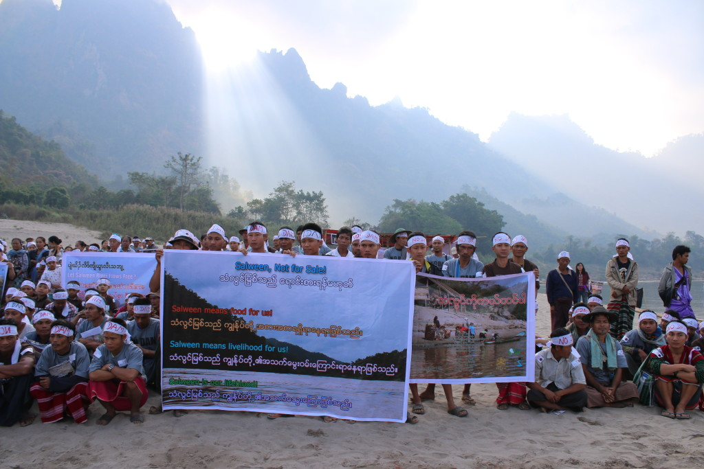 Karen people protest against the Hat Gyi Dam and other dams on the Salween.
