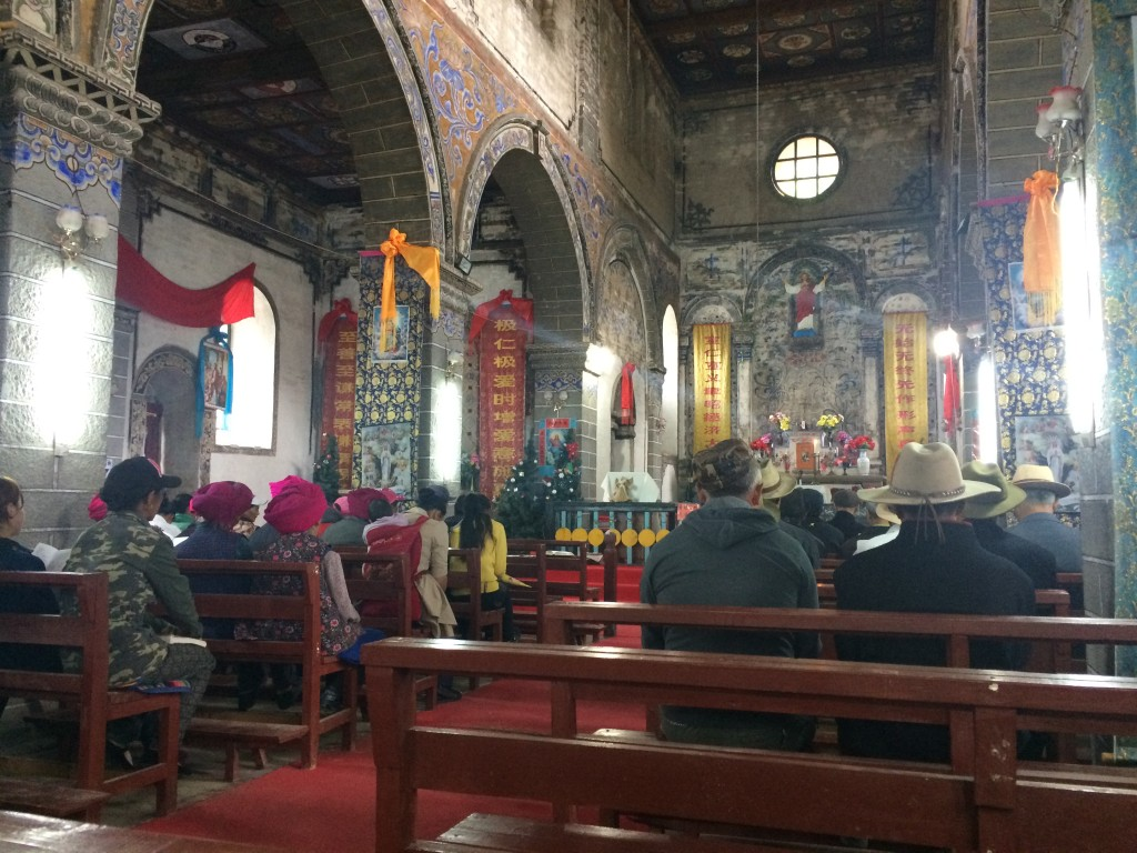 Sunday mass in Cizhong's Catholic church.