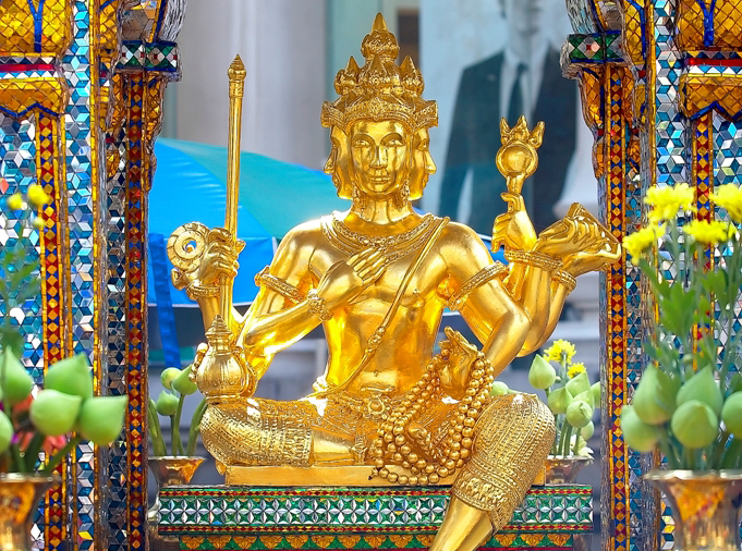 A statue of Brahma at the Erawan shrine in Bangkok. The Hindu shrine is popular with people of Chinese descent, including Thais.