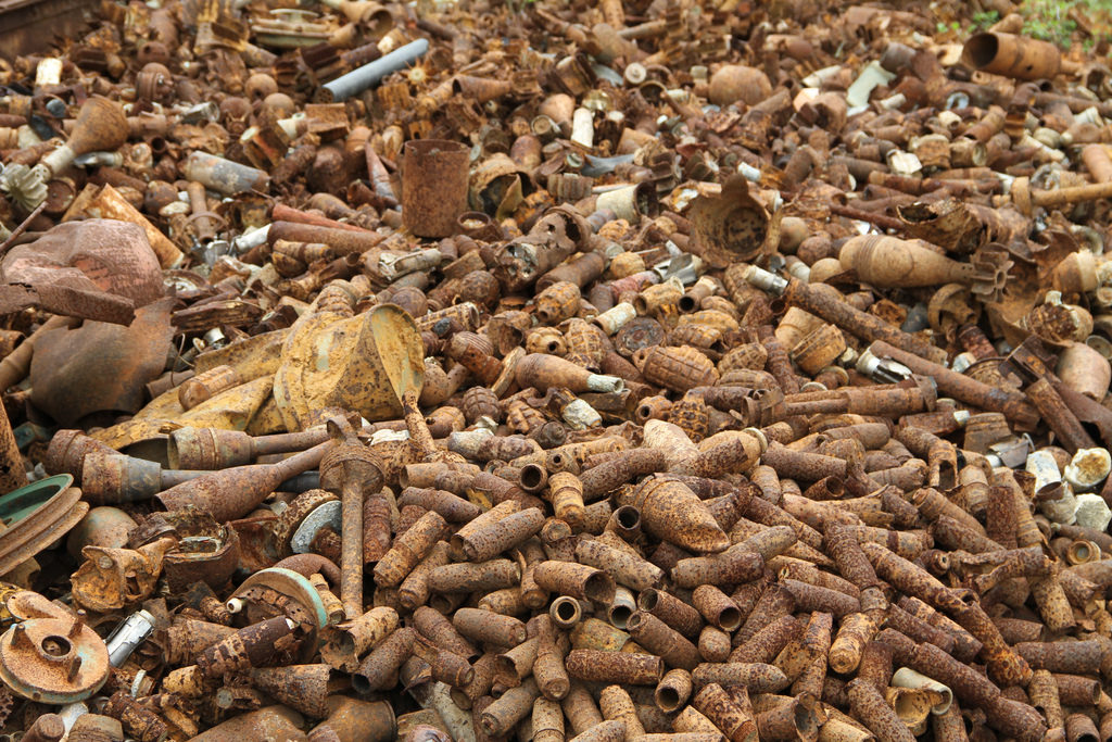 Pile of defused ordnance used for scrap metal in Laos. Photo: MAG