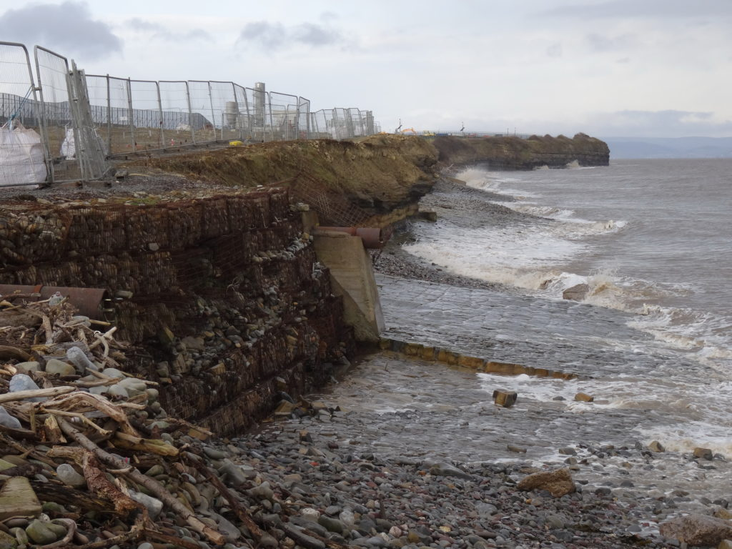 The coastal perimeter of the HPC site is threatened with coastal erosion, expected to worsen in future under conditions of rising sea levels, stormier weather and an underlying soft geology (David J.H. Blake)