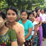 Women lead the voting lines at Myanmar's national election in 2015.