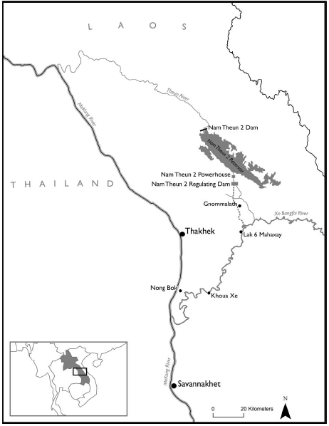 The Nam Theun 2 Hydropower Project (NT2) in central Laos and relative position of Savannakhet, where the bulk of the project's power leaves Laos for the Thai market (Source: Baird and Quastel, 2015)
