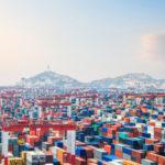 container yard at dusk in shanghai yangshan deepwater port